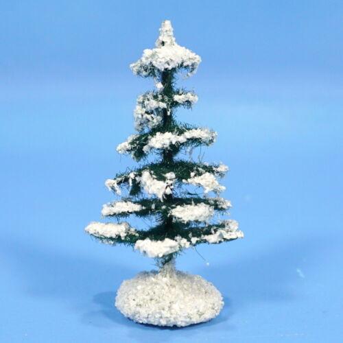 "German Paper Mache Nativity XMAS TREE 3"" c1930s Green White Manger Creche Folk"