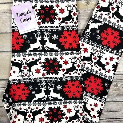 Reindeer Christmas Holiday Snowflake Leggings Buttery Soft ONE SIZE OS