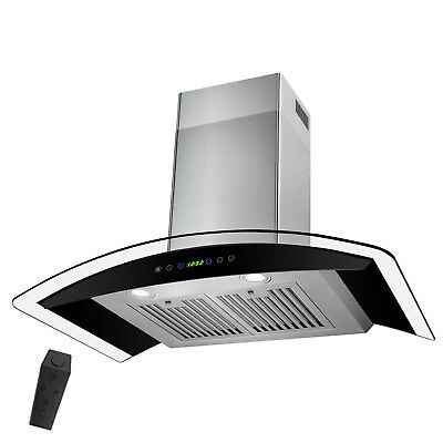 "30"" LED Display Touch Control Stainless Steel Wall Mount Kitchen Vent Range Hood"
