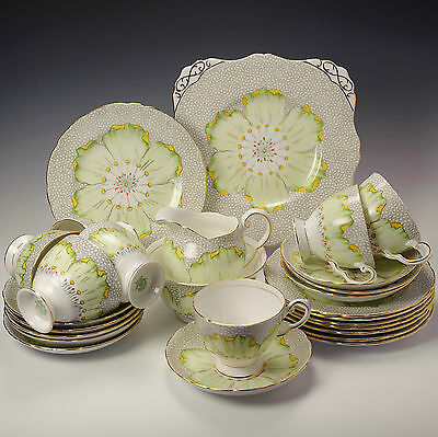 RH & SL Plant Tuscan Ware Fine English Bone China Lotus Flower Art Deco Tea Set