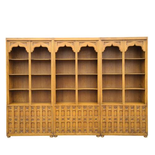 Set 3 1960s DREXEL Esperanto Carved Spanish Revival Bookcases Étagères Wall Unit