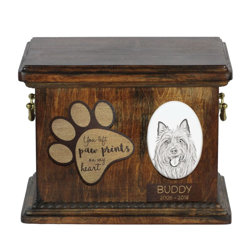 Australian terrier - Urn for dog's ashes with ceramic plate and description USA