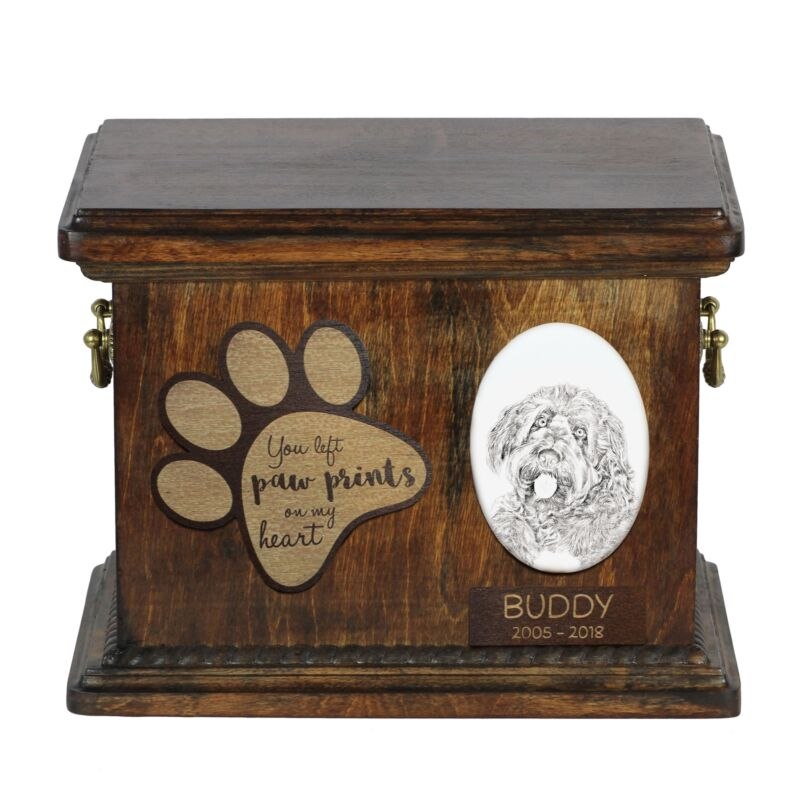 Otterhound - Urn for dog's ashes with ceramic plate and description USA