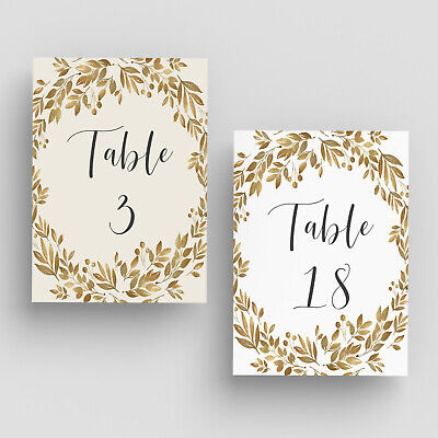 Wedding Table Numbers, Double Sided Cards with Gold Leaves - 4x6 - 5x7 Numbers](Table Number)