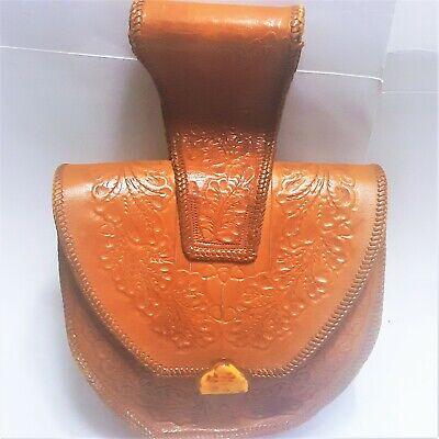 1940s Handbags and Purses History 1940s Vintage Tooled Leather Whipstitched Bakelite Large Wristlet Bag Purse $189.00 AT vintagedancer.com