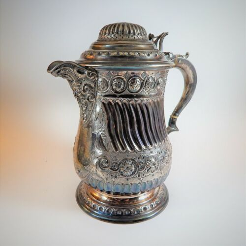 Victorian Martin Hall & Co Silver Plated Flagon Tankard Jug Bacchus Spout 1860
