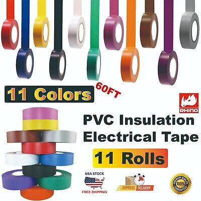 Rhino 11 Colorsrolls Pvc Insulation Electrical Tape 34 In X 60 Ft 19mm X 18m