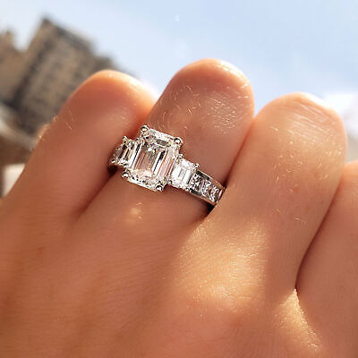 3.27 TCW Emerald Cut 3 Stone Diamond Engagement Ring - GIA Certified