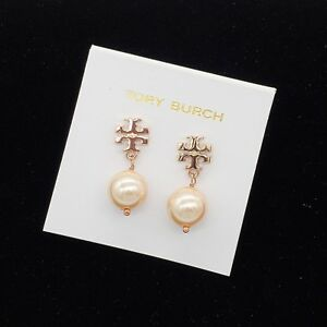 9cff8c8a3e9 Jewelry   Watches · Tory Burch Logo Rose Gold Pearl Drop Earrings w  Card