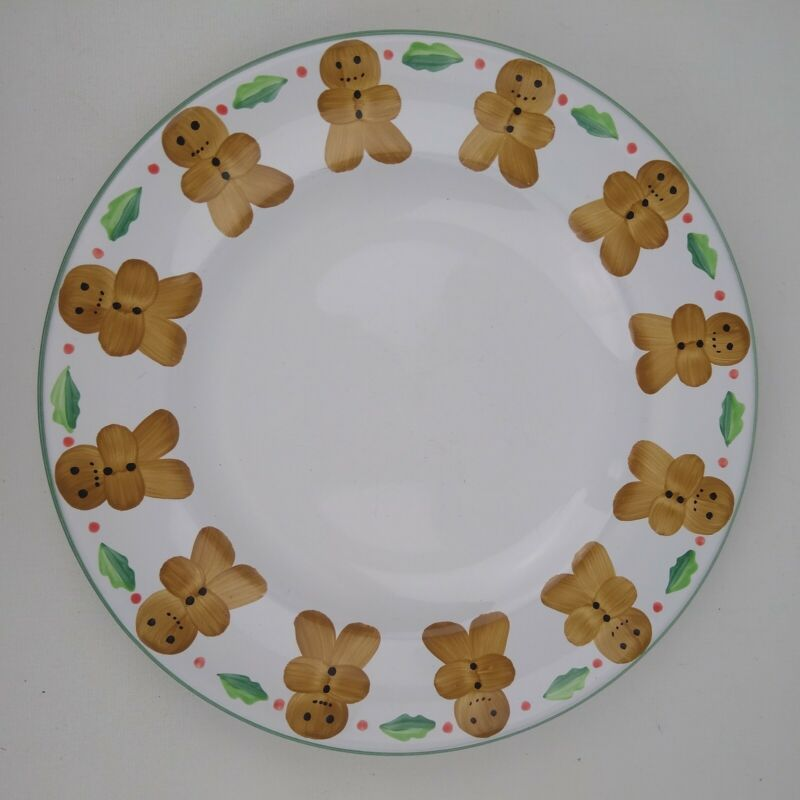 """HEREND VILLAGE POTTERY Hungary Gingerbread Man 10 7/8"""" Dinner Plate"""