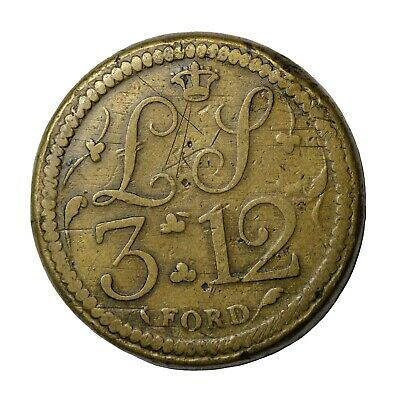 England 1700's Brass Coin Weight For Portuguese Gold Double Joe Coin W-1701