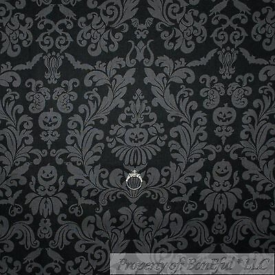 BonEful Fabric FQ Cotton Quilt VTG Black Crow Gray Bird Pumpkin Halloween -