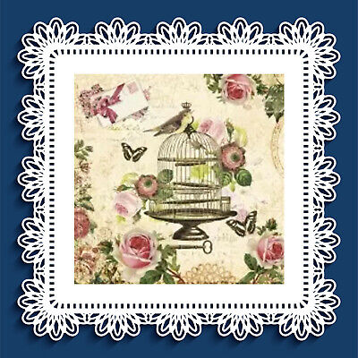 4 single paper napkins 33 cm, Bird on vintage cage, roses, butterfly, crafts