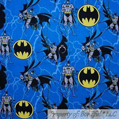 BonEful FABRIC FQ Cotton Quilt Blue Black BATMAN Yellow Symbol Costume Boy Girl