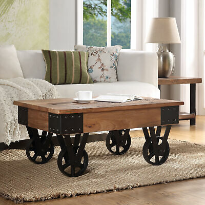 Coffee Cocktail table with Metal Wheels Coffee Table Recycle elm natural -