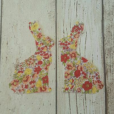 2pcs Large Easter Bunnies in spring floral fabric quilting, patchwork die cut