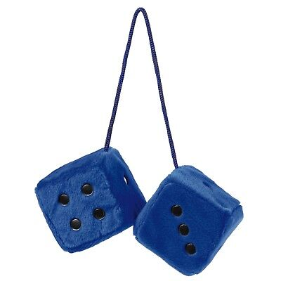 Sumex Blue & Black Soft Fluffy Furry Car & Home Hanging Mirror Spotty Dice #40
