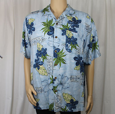 Caribbean Joe Let Go Blue Hawaiian Shirt Blue Flowers Green Leaves Aloha