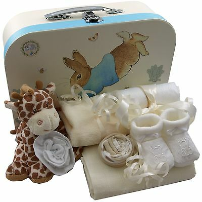 Baby gift basket packed Peter Rabbit case unisex baby shower nappy cake