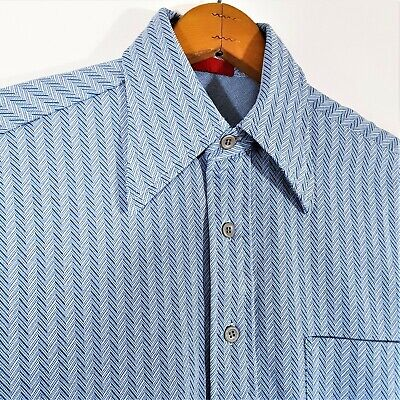 1970s Mens Shirt Styles – Vintage 70s Shirts for Guys Vintage 70s Atomic Chevron Knit Disco Shirt 1970s Polyester Retro Mod Pimp Sz M $29.53 AT vintagedancer.com