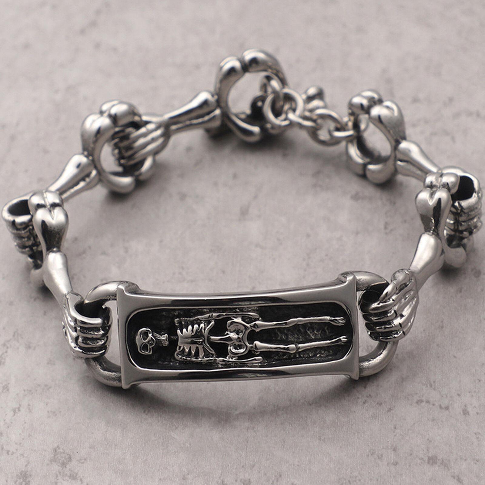Men's Stainless Steel Gothic Skull Skeletons Biker Bracelet, Bold and Masculine Bracelets