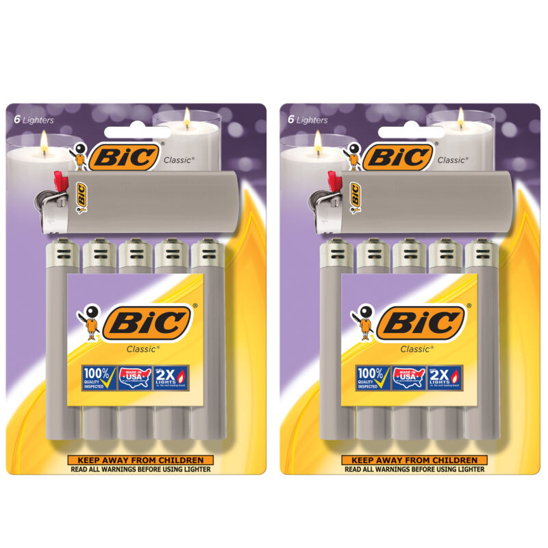 BIC Classic Lighter, Gray, 12-Pack (packaging may vary)