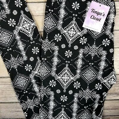 Black White Holiday Snowflake Star Leggings Buttery Soft ONE SIZE OS