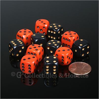 NEW 12 ROUNDED EDGE 12mm Dice Set Orange Black Halloween Colors RPG MTG Game D6