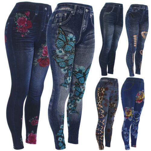 Womens Floral Fake Jeans Leggings, High Waist Slim Pencil Stretch Denim Jeggings