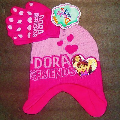 DORA the EXPLORER & FRIENDS Pink Hearts Trapper Winter Hat & Gloves Set NWT  $20 ()