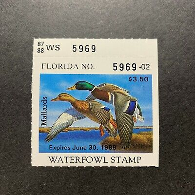 WTDstamps - 1987 FLORIDA - State Duck Stamp - Mint OG NH -