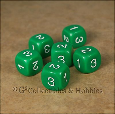 NEW Set of 6 D3 Six Sided 1 to 3 Twice Green Game Dice D&D RPG 16mm Koplow, used for sale  Columbus