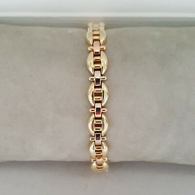 Ladies 14k Yellow White Rose Tri-Color Gold Gucci Link Style Bracelet Italy
