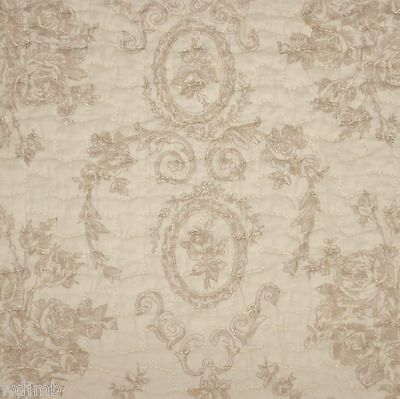 Chic Shabby TOILE FLORAL CAMEO Ivory Cream Tan Hugely QUEEN Quilt 3pc SET