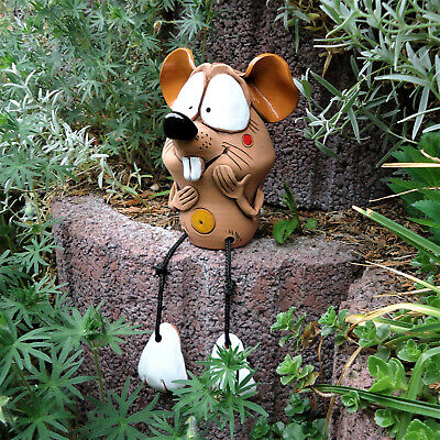 Keramik *Maus Fipsi* Gartenstecker Deko Figur Bammelbeine Kantensitzer Garten