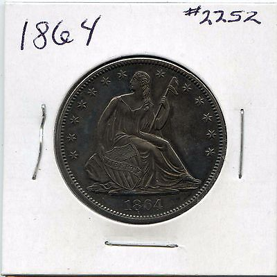 Click now to see the BUY IT NOW Price! 1864 50C LIBERTY SEATED HALF DOLLAR. ALMOST UNCIRCULATED . LOT 1907