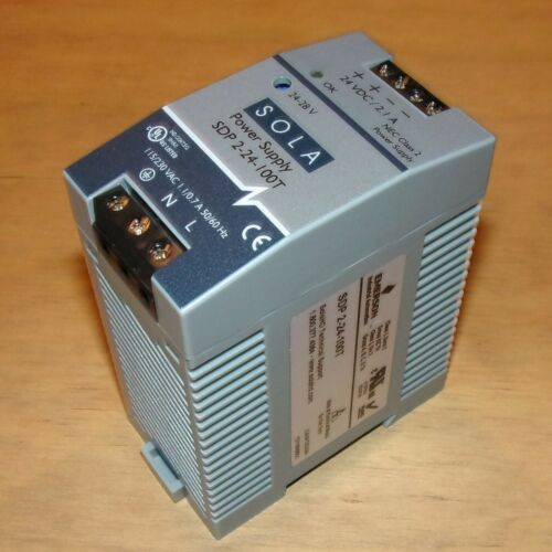 SOLA Emerson 24V 2.1A NEC Class 2 Industrial DC Power Supply SDP 2-24-100T