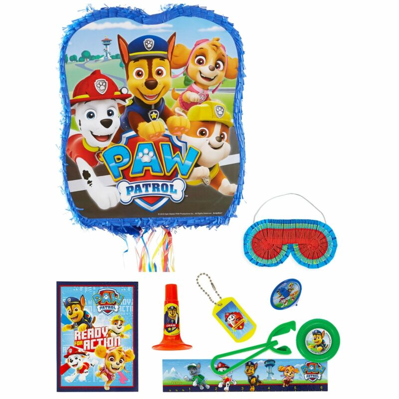 Pull String PAW Patrol Adventures Pinata Supplies with Favors Stick Blindfold