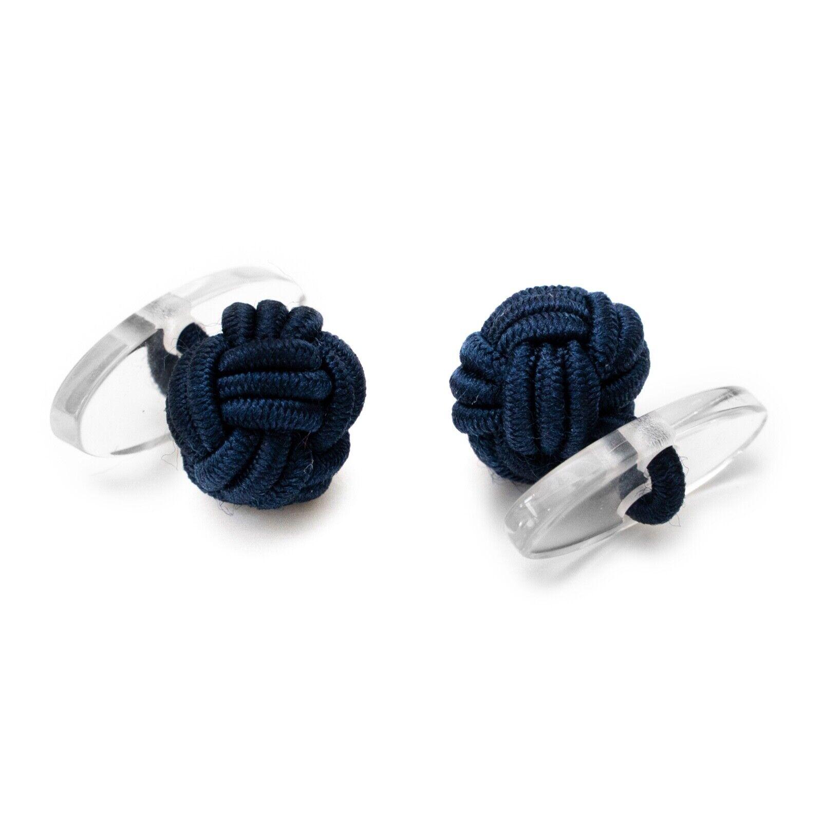 1 Paar Seidenknoten Manschettenknöpfe Knötchen dunkelblau mit Kunststoff Steg