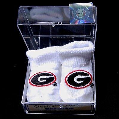 (UGA UNIVERSITY OF GEORGIA Bulldogs White Baby Booties)