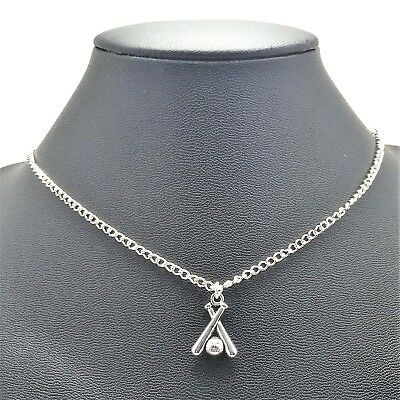 Baseball Bat Sport Ball Game Necklace Sterling Silver Plated Chain Link Women's