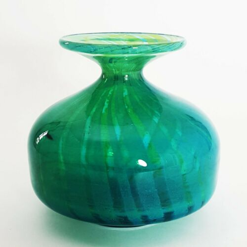 """Early Mdina Glass Blue and Amber """"Ming"""" Signed Vase"""