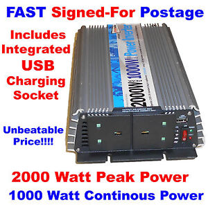 12V 230V 2000W Peak 1000W Continuous Power DC-AC Inverter + USB Power Socket NV1