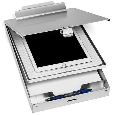 Aluminum Dual Storage Clipboard 2 Compartments Heavy Duty Clip Letter Paper