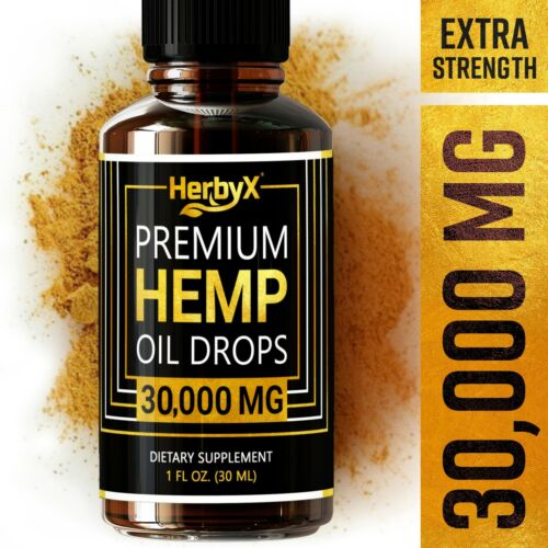 Organic Hemp Oil Drops for Pain Relief, Stress, Sleep 30,000 MG Extra Strength