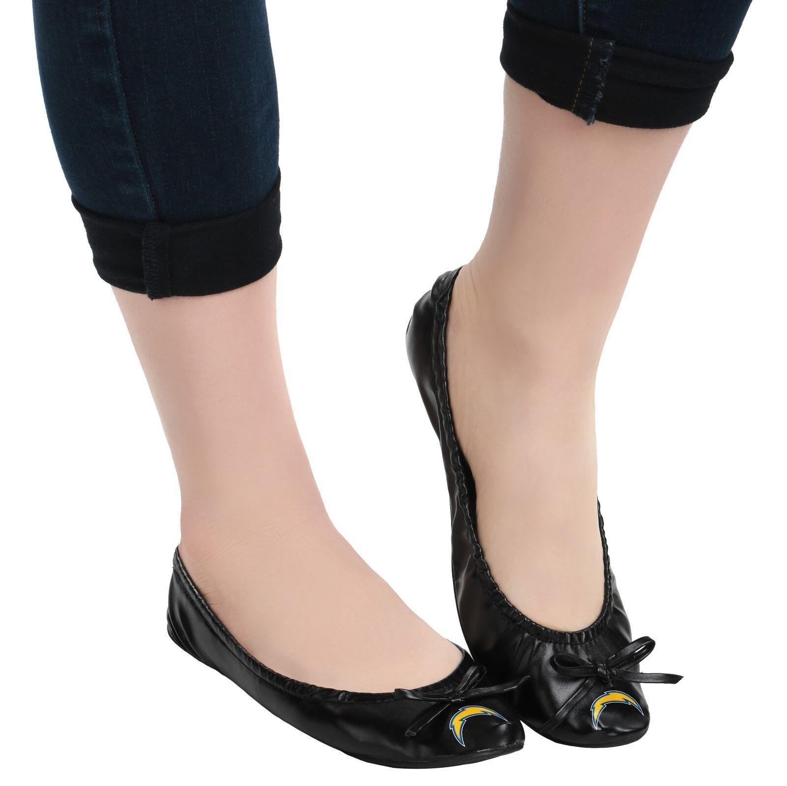 NFL Football Team Logo Womens Black Foldable Slip On Flats Shoes w/ Clutch Bag