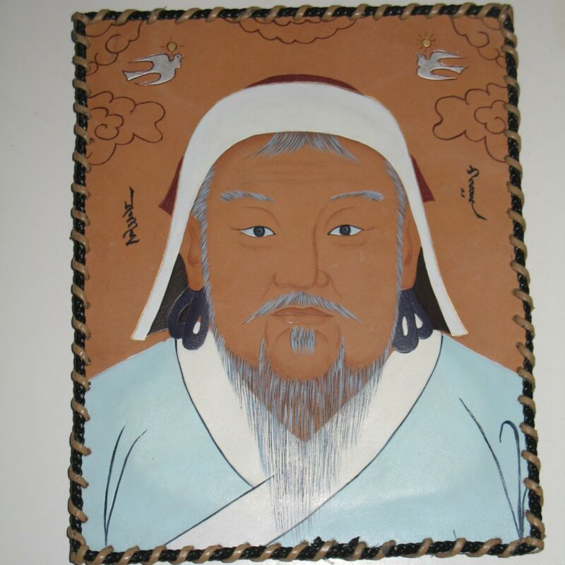 Unique Hand Painted Portrait of Oriental Man on Leather Wall Hanging Artwork