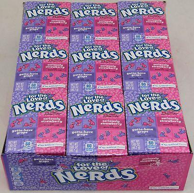 Nerds Candy Grape & Strawberry 36 Boxes Party Nerd Bulk Box Candies Crunchy