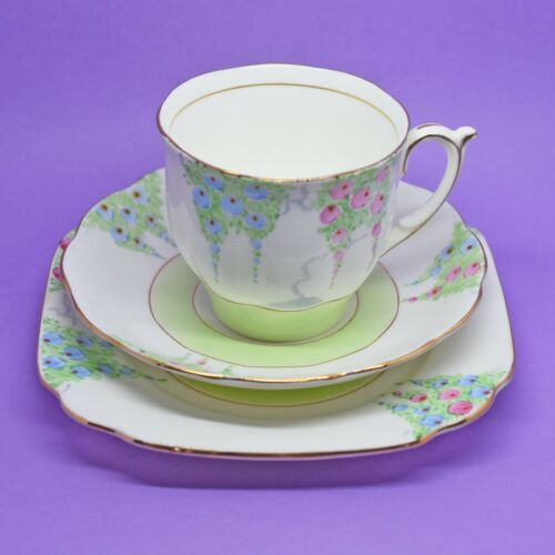 Bell China Tea Cup, Saucer and Plate Trio, Pink and Blue Flowers Vintage England