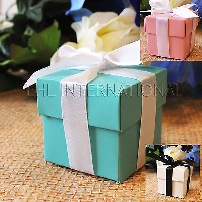 - 25/50/100 Wedding Favor Boxes Baby Shower Baptism Party Gift  Pink White